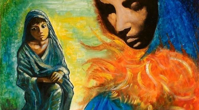 Femme haibtée par l'Esprit, tableau du père Vincent
