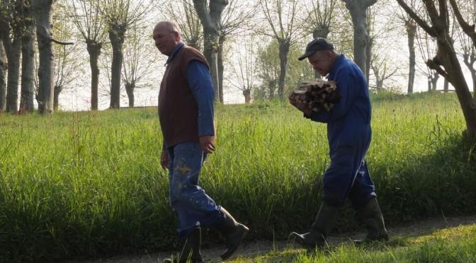 deux frères moines marchent l'un derrière l'autre en tenue de travail